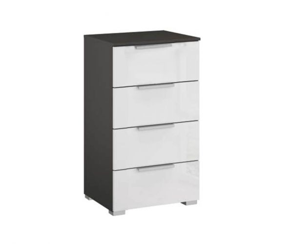 Rauch Caana Graphite Carcase with High Polish White 4 Drawer Chest