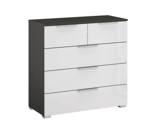 Rauch Caana Graphite Carcase with High Polish White 5 Drawer Chest
