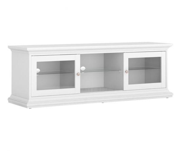 FTG Paris White 2 Door Wide TV Unit with 1 Shelf