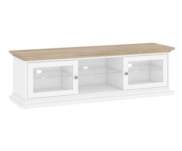 FTG Paris White and Oak 2 Door Wide TV Unit with 1 Shelf