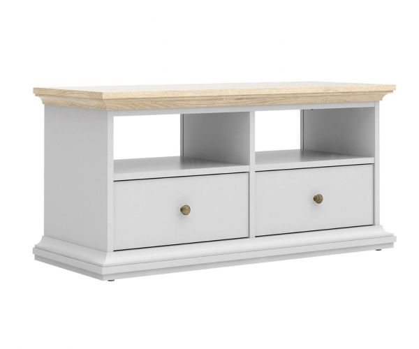 FTG Paris White and Oak 2 Drawer TV Unit with 2 Shelves