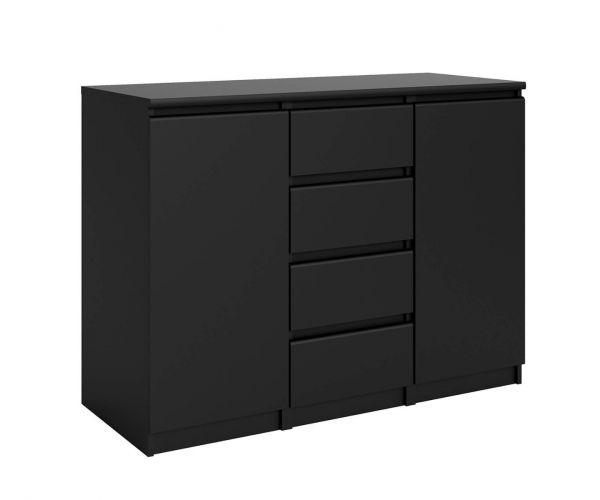 FTG Naia Black Matt 4 Drawer 2 Door Sideboard