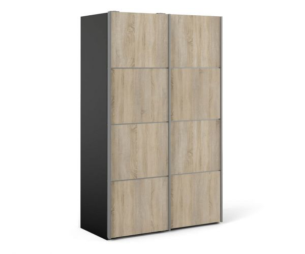 FTG Verona Black Matt with Oak Door 120cm Sliding Wardrobe with 2 Shelves