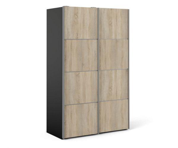 FTG Verona Black Matt with Oak Door 120cm Sliding Wardrobe with 5 Shelves