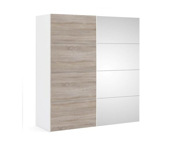 FTG Verona White with Truffle Oak and Mirror Door 180cm Sliding Wardrobe with 2 Shelves