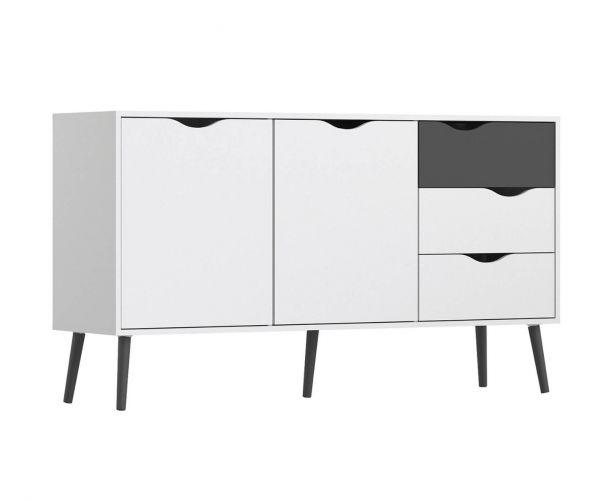 FTG Oslo White and Black Matt Large 3 Drawer 2 Door Sideboard