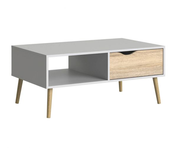 FTG Oslo White and Oak 1 Drawer Coffee Table with 1 Shelf