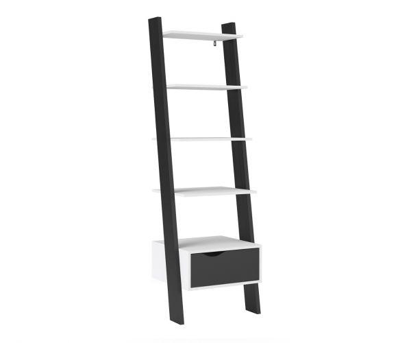 FTG Oslo White and Black Matt 1 Drawer Leaning Bookcase