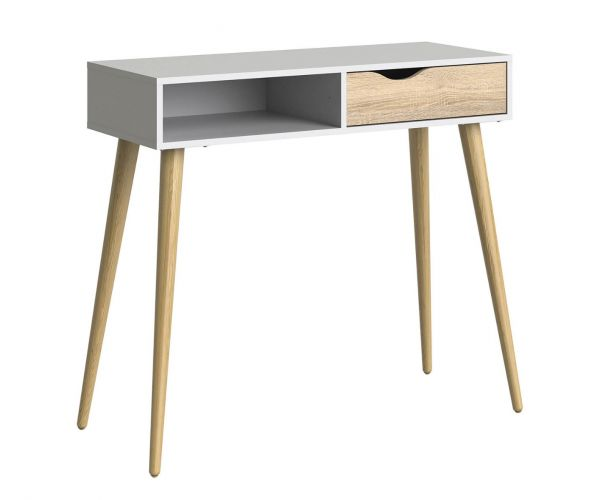 FTG Oslo White and Oak 1 Drawer Console Table with 1 Shelf