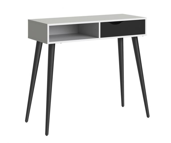 FTG Oslo White and Black Matt 1 Drawer Console Table with 1 Shelf