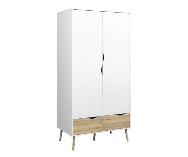 FTG Oslo White and Oak 2 Door 2 Drawer Wardrobe