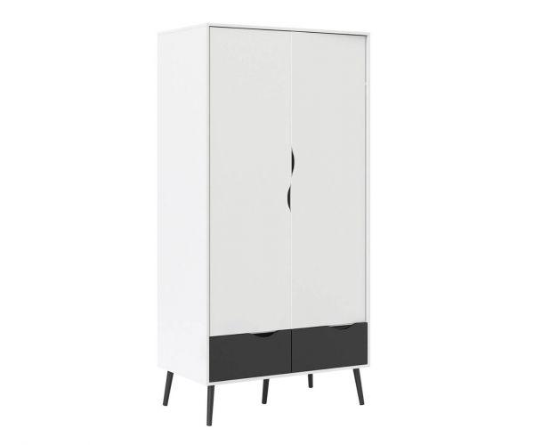 FTG Oslo White and Black Matt 2 Door 2 Drawer Wardrobe