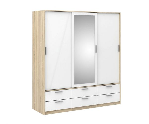 FTG Line Oak and White High Gloss 3 Door 6 Drawer Wardrobe