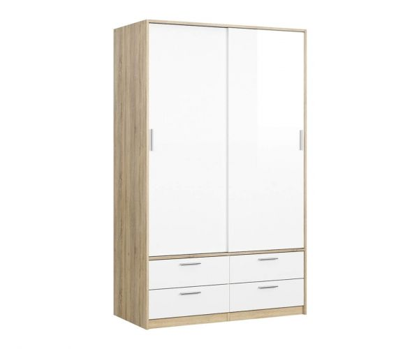 FTG Line Oak and White High Gloss 2 Door 4 Drawer Wardrobe