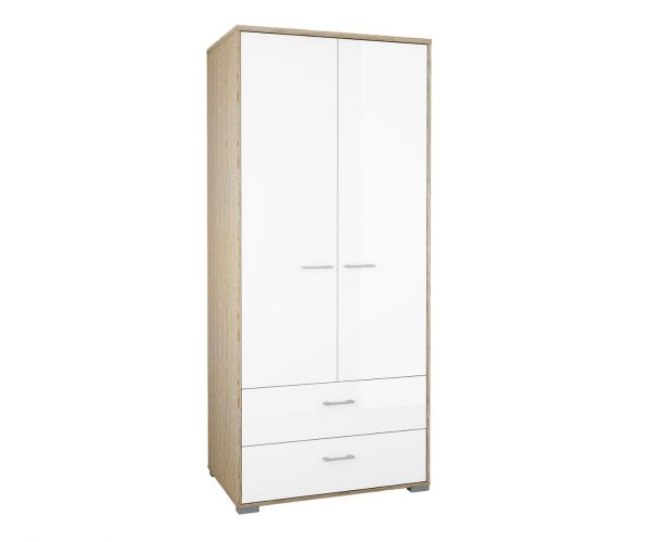 FTG Homeline Oak 2 Door 2 Drawer Wardrobe with White High Gloss