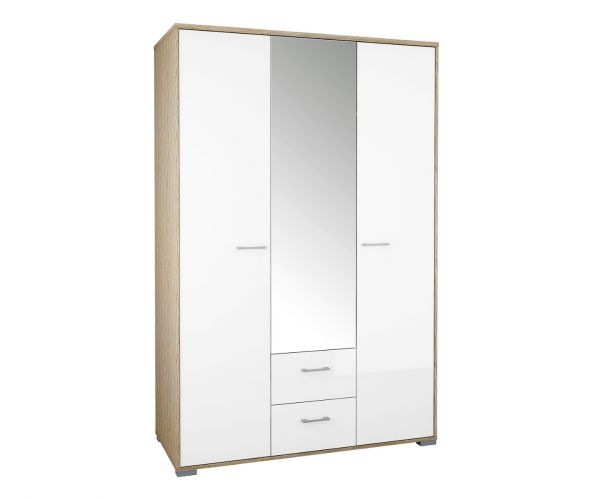 FTG Homeline Oak 3 Door 2 Drawer Wardrobe with White High Gloss
