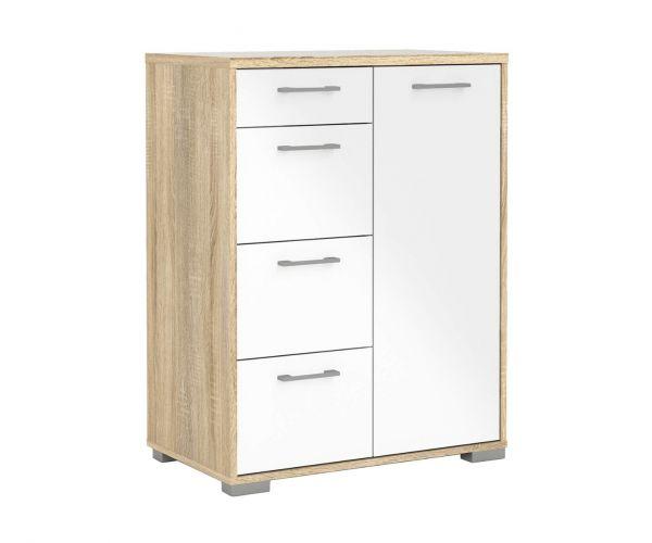 FTG Homeline Oak 4 Drawer 1 Door Sideboard with White High Gloss