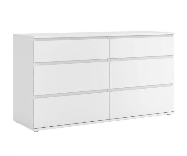 FTG Nova White (3+3) 6 Drawer Wide Chest