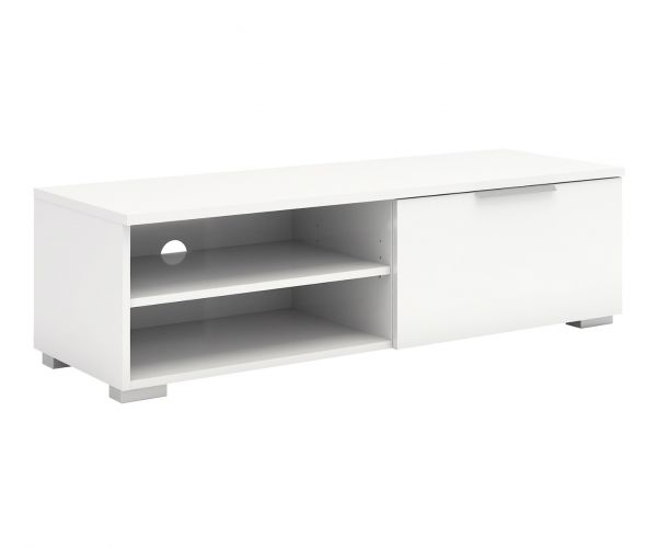 FTG Match White High Gloss 1 Drawer TV Unit with 2 Shelf