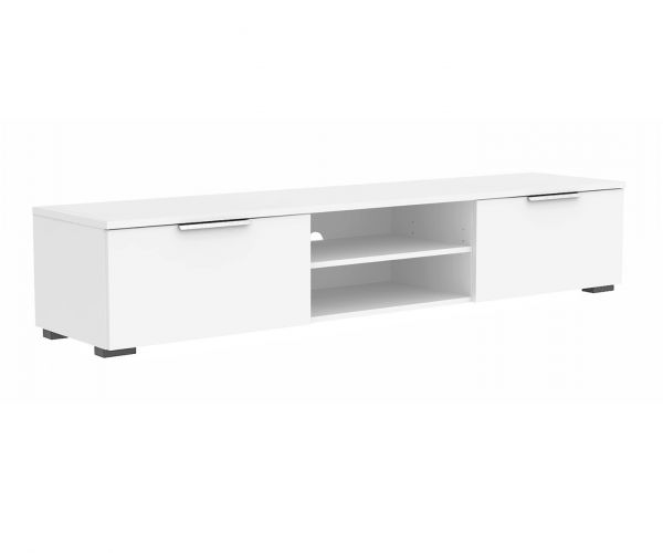 FTG Match White High Gloss 2 Drawer TV Unit with 2 Shelf