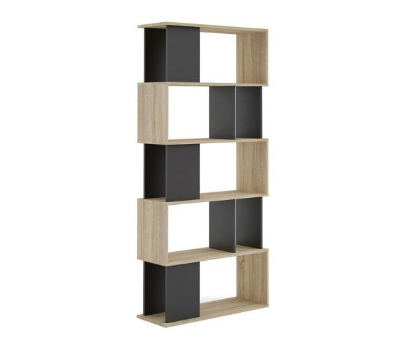 FTG Maze Oak and Black Open Bookcase with 4 Shelves