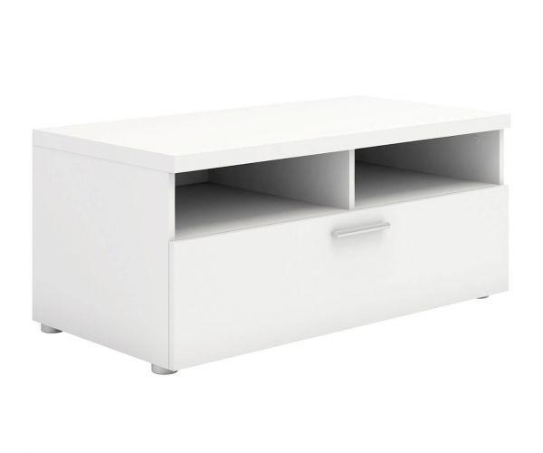 FTG Napoli White 1 Drawer TV Unit with 2 Shelves