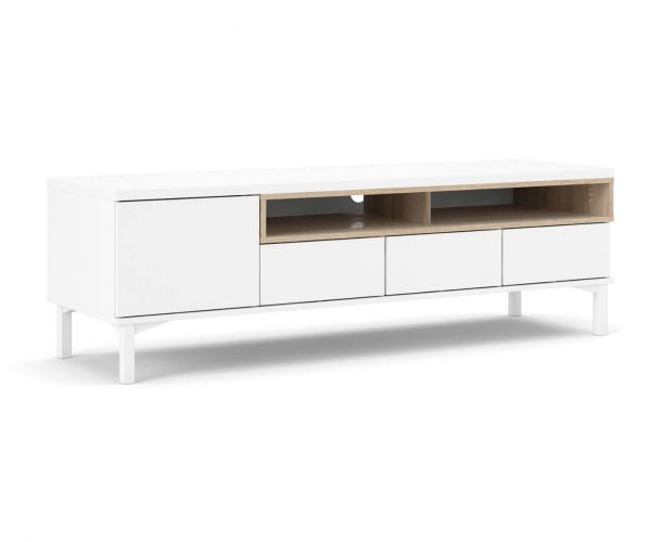 FTG Roomers White and Oak 3 Drawer 1 Door TV Unit