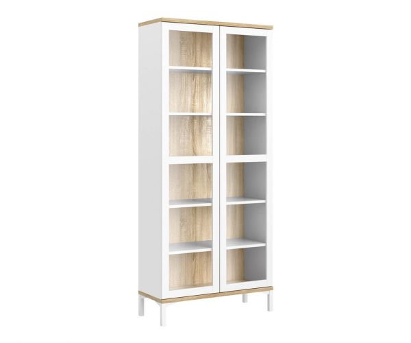 FTG Roomers White and Oak 2 Door Glazed Display Cabinet