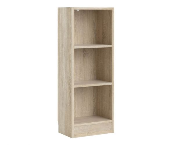 FTG Basic Oak Low Narrow Bookcase with 2 Shelves