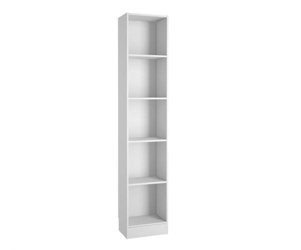 FTG Basic White Tall Narrow Bookcase with 4 Shelves