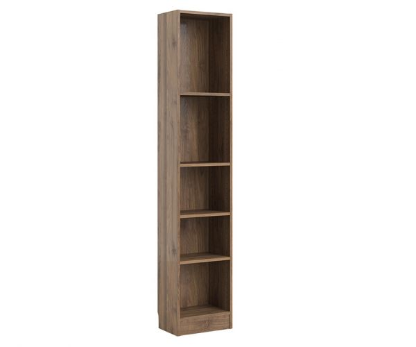 FTG Basic Walnut Tall Narrow Bookcase with 4 Shelves