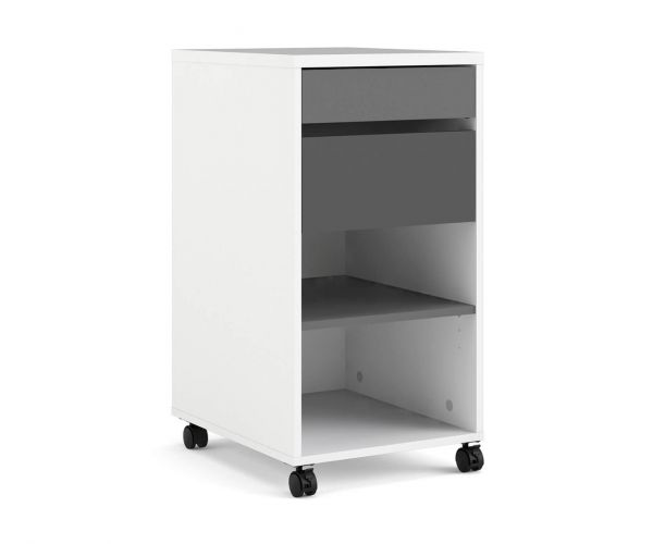 FTG Function Plus White Grey 2 Drawer 1 Shelf Mobile File Cabinet