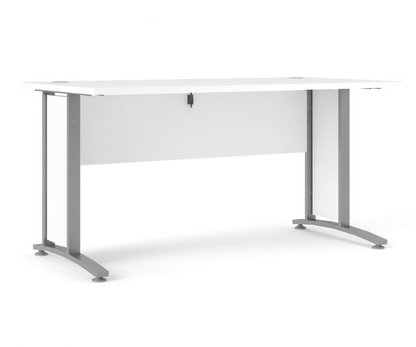 FTG Prima White 150cm Desk with Silver Grey Steel Legs
