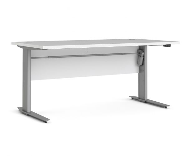 FTG Prima White 150cm Desk with Silver Grey Steel Height Adjustable Legs with Electric Control