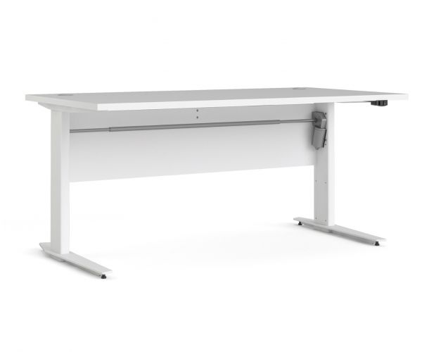 FTG Prima White 150cm Desk with White Height Adjustable Legs with Electric Control