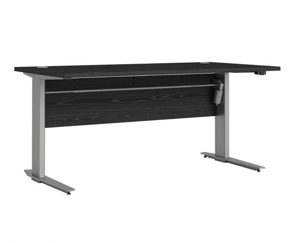 FTG Prima Black Woodgrain 150cm Desk with Silver Grey Steel Height Adjustable Legs with Electric Control