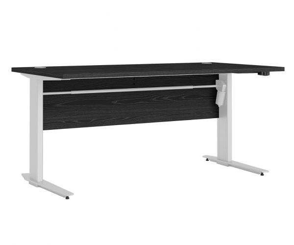FTG Prima Black Woodgrain 150cm Desk with White Height Adjustable Legs with Electric Control