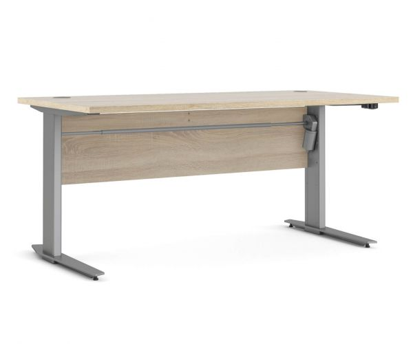 FTG Prima Oak 150cm Desk with Silver Grey Steel Height Adjustable Legs with Electric Control