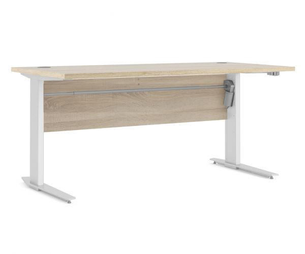 FTG Prima Oak 150cm Desk with White Height Adjustable Legs with Electric Control