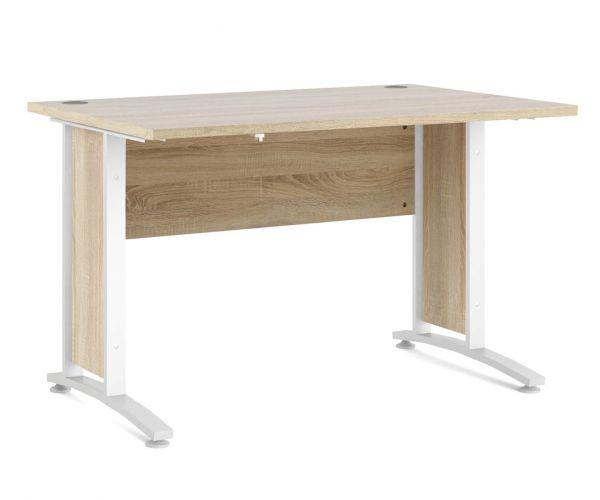 FTG Prima Oak 120cm Desk with White Legs