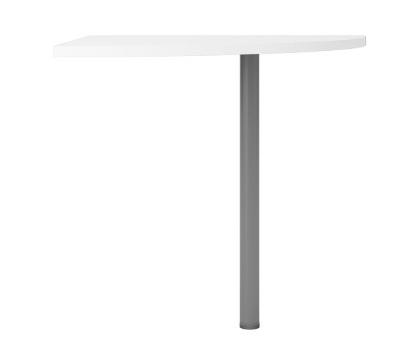 FTG Prima White Corner Desk with Silver Grey Steel Legs