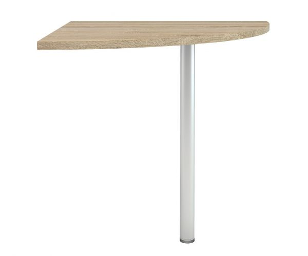 FTG Prima Oak Corner Desk with Silver Grey Steel Legs