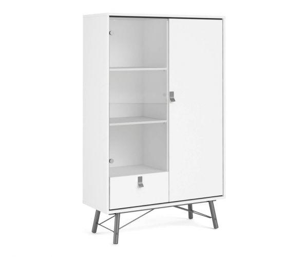 FTG Ry Matt White 1 Drawer 1 Door and 1 Glass Door China Cabinet