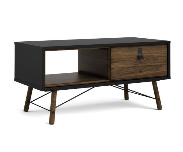 FTG Ry Matt Black and Walnut 1 Drawer Coffee Table