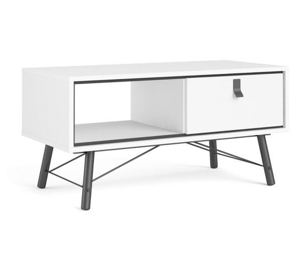 FTG Ry Matt White 1 Drawer Coffee Table