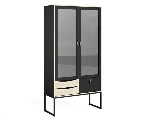 FTG Stubbe Matt Black and Oak 2 Frame Door 3 Drawer China Cabinet