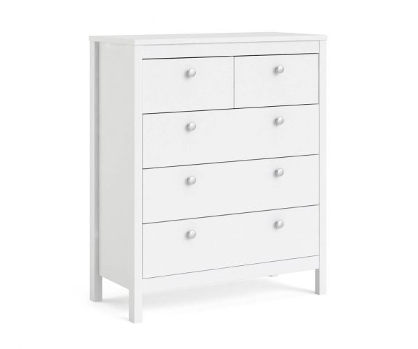 FTG Madrid White 3 + 2 Drawer Chest