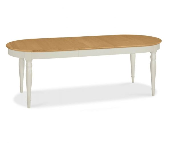 Bentley Designs Hampstead Soft Grey and Pale Oak 6-8 Extension Dining Table Only