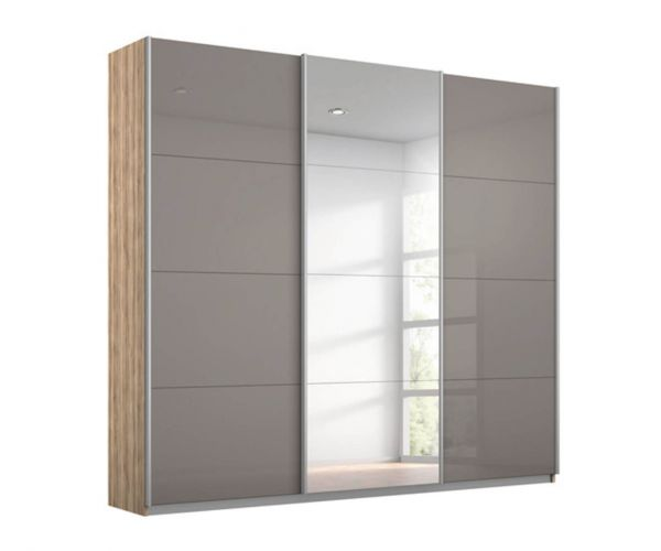 Rauch Kulmbach Fango Glass Front 3 Sliding Glass Door Wardrobe with Chrome Colour Handle Strips(W271cm)
