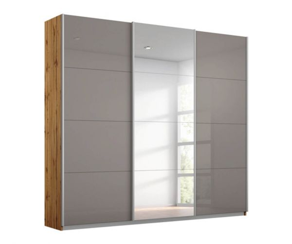 Rauch Kulmbach Fango Glass Front 3 Sliding Glass Door Wardrobe with Carcase Colour Handle Strips(W271cm)